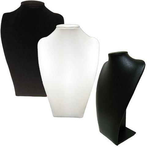 DS-182 Long Plush Bust Leatherette/Velvet Jewelry Display for Necklaces, Pendants - DisplayImporter
