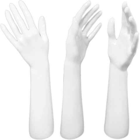 DS-187 Glossy White Female Glove, Rings, and Jewelry Display Hand - DisplayImporter