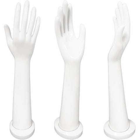 DS-188 Tall Glossy White Female Glove, Rings, and Jewelry Display Hand