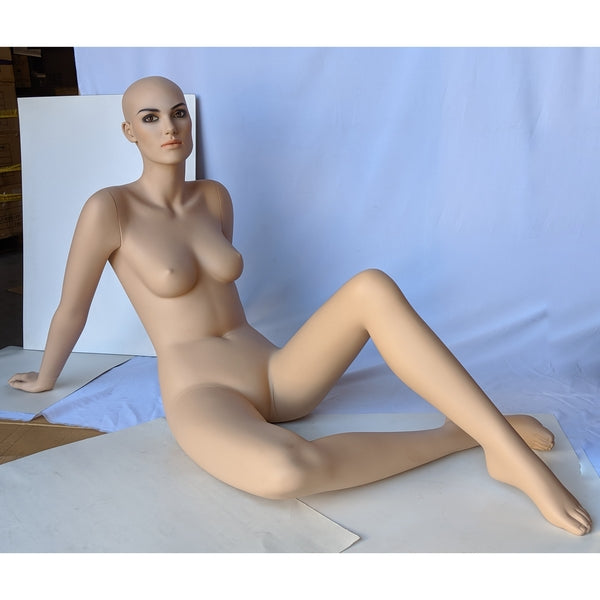 MN-FSIT1 Euro Female Lounging Reclining Mannequin with Hyper Realistic Facial Features and Free Wig - DisplayImporter