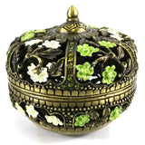 PB-004 Carved Eastern Inspired Decorative Enamel Trinket Box, Jewelry Box Container - DisplayImporter