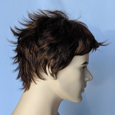 WG-203 Medium Length Textured Brown Male Wig - DisplayImporter