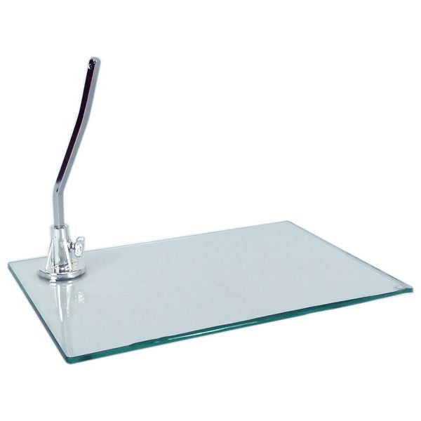 "MA-026 Rectangular Tempered Glass Base for Plastic Mannequin with 0.4"" D Calf Rod"