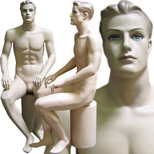 MN-110 Male Full Body Sitting Realistic Mannequin with Molded Hair and Pedestal - DisplayImporter