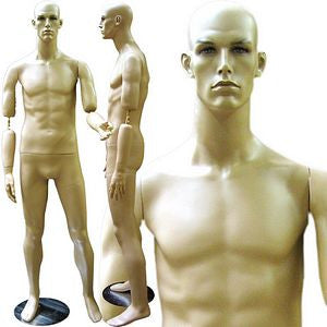 MN-136 Male Realistic Mannequin with Flexible Bendable Arms and Free Wig - DisplayImporter