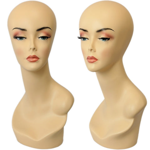 MN-138 Female Earless Mannequin Head Form with Realistic Makeup