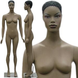 MN-139 African American Female Fashion Mannequin with Make up and Molded Hair - DisplayImporter