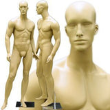 MN-159 Standing Masculine Male Mannequin with Base Fleshtone - DisplayImporter.com - 2