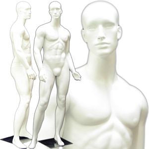 MN-159 Standing Masculine Male Mannequin with Base White - DisplayImporter.com - 3