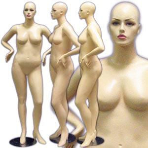 MN-166 Plus Size Female Realistic Mannequin with Hands on Hip and Free Wig - DisplayImporter