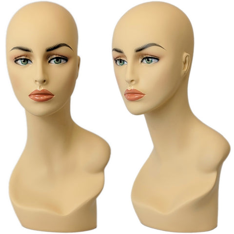 MN-174 Female Mannequin Head Form with Pierced Ears - DisplayImporter