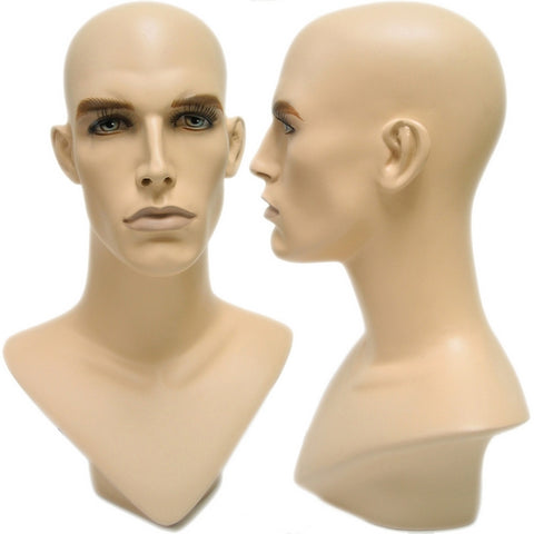 MN-175 V-Neck Male Fleshtone Mannequin Head Form with Realistic Features