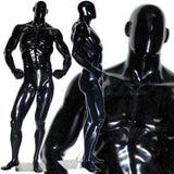 MN-181 Glossy Muscle Bodybuilder Mannequin in Tone & Flex Pose Glossy Black - DisplayImporter.com - 2