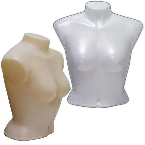 MN-188 Armless Round Body Plastic Female Upper Torso Mannequin - DisplayImporter