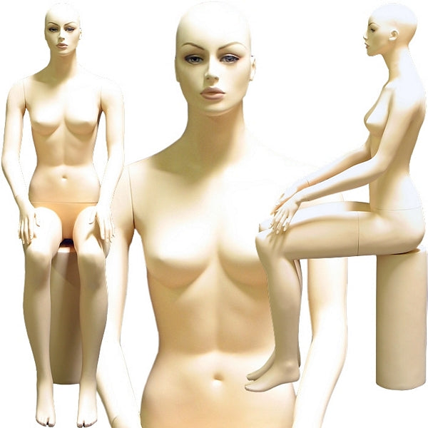 MN-200 Sitting Female Realistic Mannequin with Pedestal and Free Wig - DisplayImporter