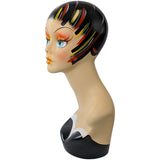 MN-202 Female Mannequin Head Form with Colorful Vintage Style Painted Look - DisplayImporter