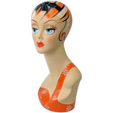 MN-203 Female Mannequin Head Form with Colorful Vintage Style Painted Look - DisplayImporter