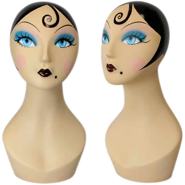 MN-225 Whimsical Vintage Style Female Mannequin Head Form