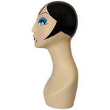 MN-225 Whimsical Vintage Style Black Hair Female Mannequin Head Form - DisplayImporter