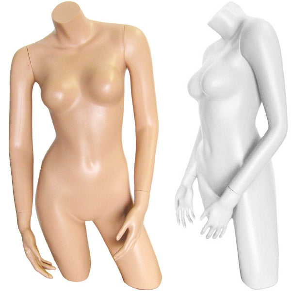 MN-239 Plastic Countertop Female 3/4 Upper Body Torso Form with Arms - DisplayImporter