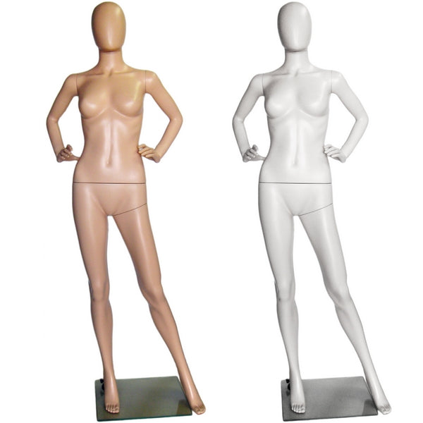 MN-243 Plastic Ladies Full Size Egghead Mannequin with Removable Head
