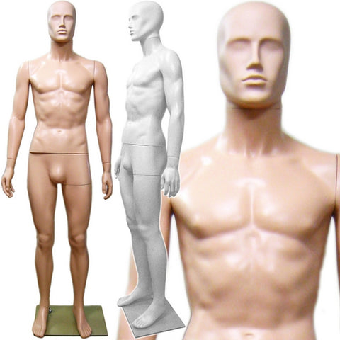 MN-245 Plastic Male Full Size Mannequin with Removable Abstract Head - DisplayImporter