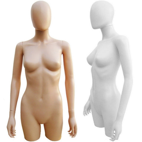 MN-248 Plastic 3/4 Torso Female Upper Body Torso Mannequin Form with Removable Head - DisplayImporter