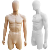 MN-249 Plastic 3/4 Torso Male Upper Body Torso Mannequin Form with Removable Head - DisplayImporter