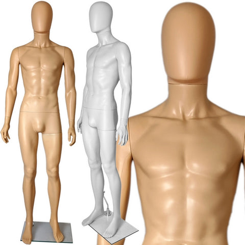 MN-251 Plastic Egghead Male Full Size Mannequin with Removable Head