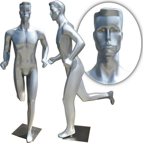 MN-253 Full Body Abstract Male Mannequin in Running Jogging Pose - DisplayImporter