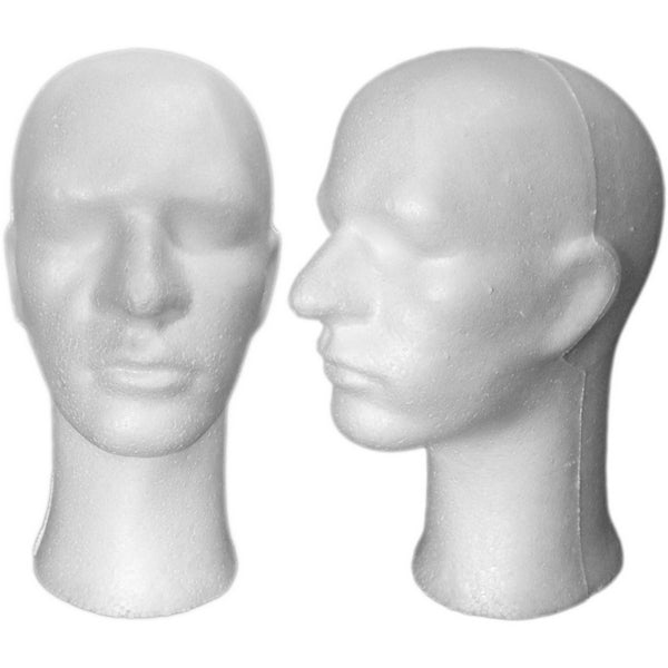 MN-256 Male Styrofoam Mannequin Head with Long Neck