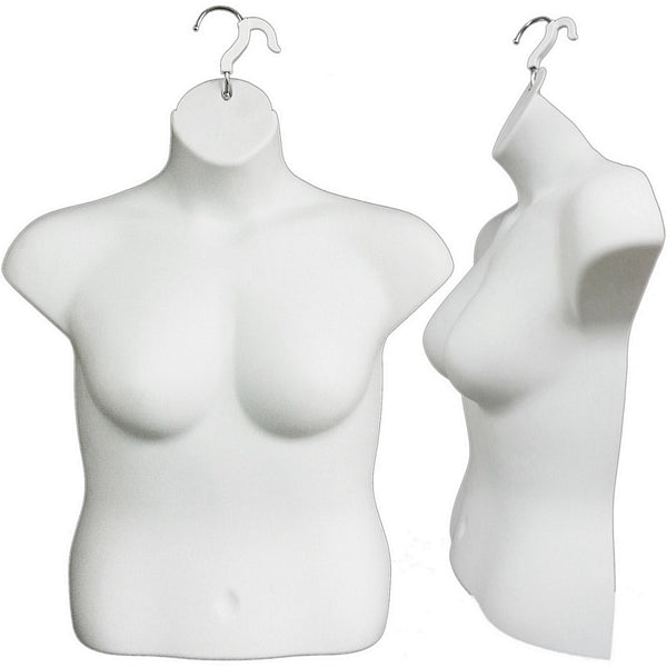 MN-262 Plus Size Female Upper Torso Body Injection Mold Hanging Form - DisplayImporter
