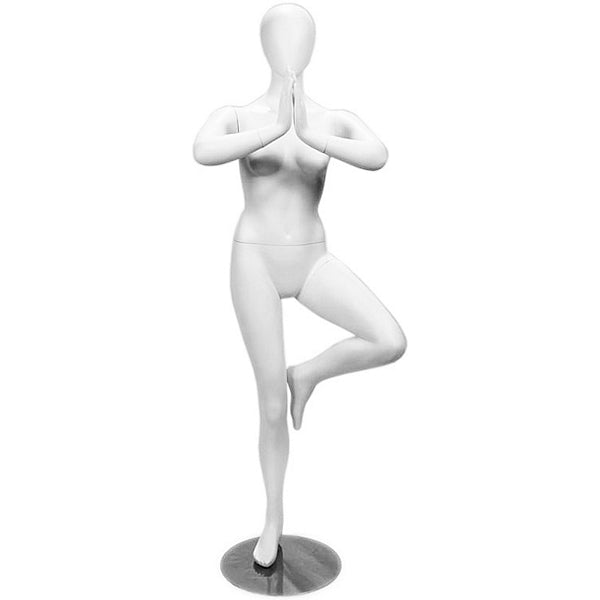 MN-282 Female Yoga Mannequin in Tree Pose (Vrksasana) - DisplayImporter