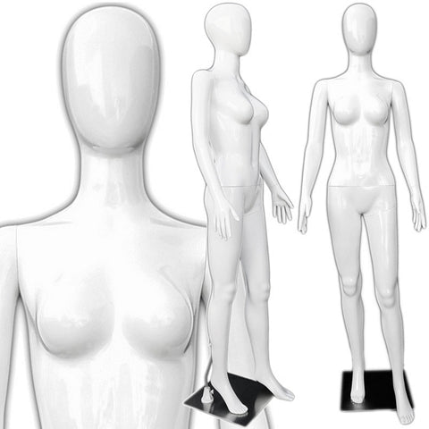 MN-286 Glossy Plastic Egghead Ladies Full Size Mannequin - DisplayImporter