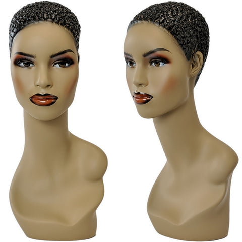 MN-303 African American Female Mannequin Head Form with Pierced Ears