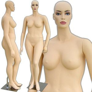 MN-305 Female Plus Size Curvy Realistic Head Mannequin with Free Wig - DisplayImporter