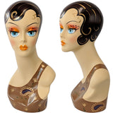 MN-317 Female Mannequin Head Form with Colorful Vintage Style Painted Look