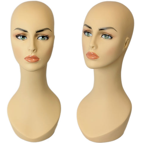 MN-318 Female Mannequin Head Display with Stylish Long Neck and Pierced Ears - DisplayImporter