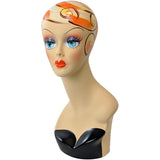MN-319 Female Mannequin Head Form with Colorful Vintage Style Painted Look - DisplayImporter