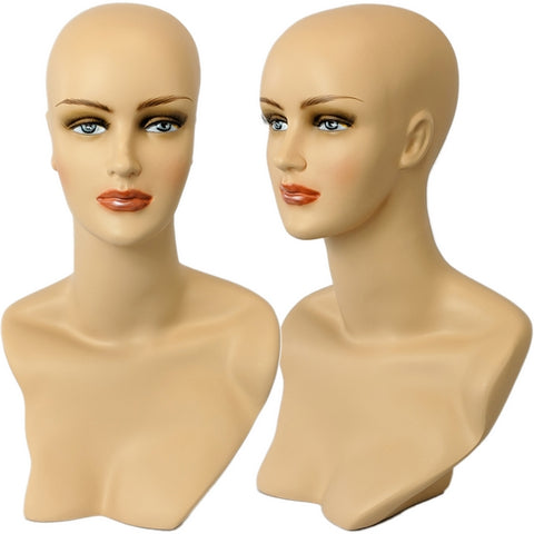 MN-320 Female Mannequin Head Form with Stylish Neck And Shoulder