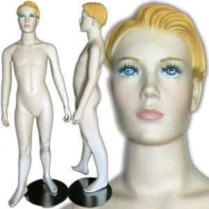 "MN-342 Young Boy Standing Mannequin with Molded Hair 4' 8""  - DisplayImporter.com - 1"