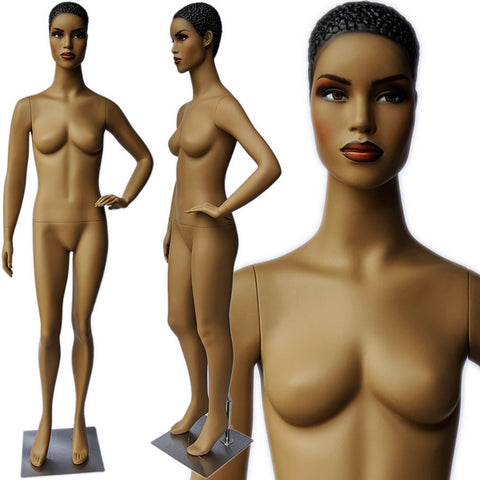 MN-380 African American Female Fashion Mannequin with Molded Hair - DisplayImporter
