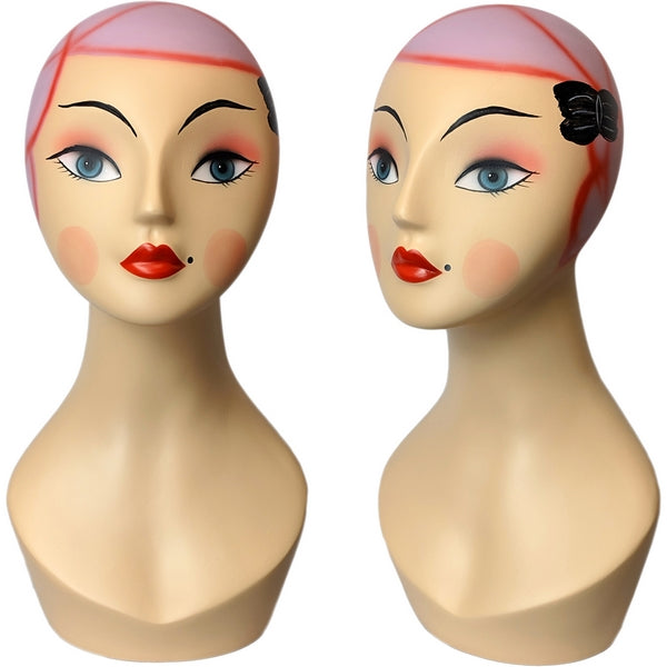 MN-381 Whimsical Vintage Style Pink Hair Female Mannequin Head Form - DisplayImporter