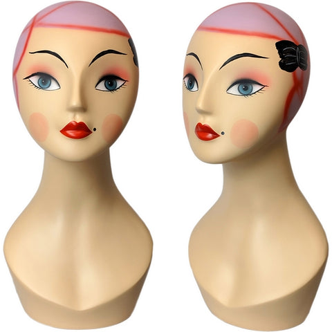 MN-381 Whimsical Vintage Style Pink Hair Female Mannequin Head Form