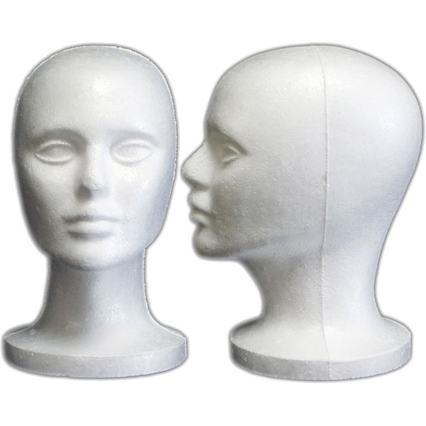 MN-408LTP Female Styrofoam Mannequin Head (LESS THAN PERFECT, FINAL SALE) - DisplayImporter