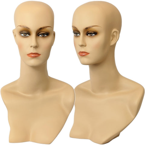 MN-411 Female Mannequin Head Form with Stylish Neck And Shoulder - DisplayImporter