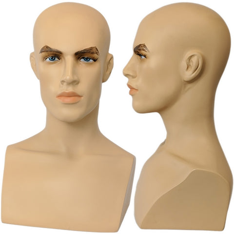 MN-413 Male Mannequin Head Form with Bust
