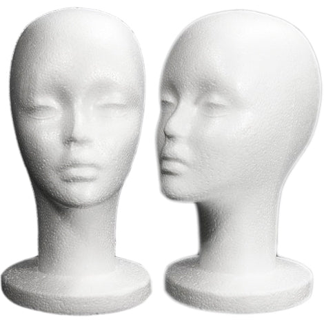 MN-433LTP Female Styrofoam Mannequin Head - Long Neck (LESS THAN PERFECT, FINAL SALE) - DisplayImporter