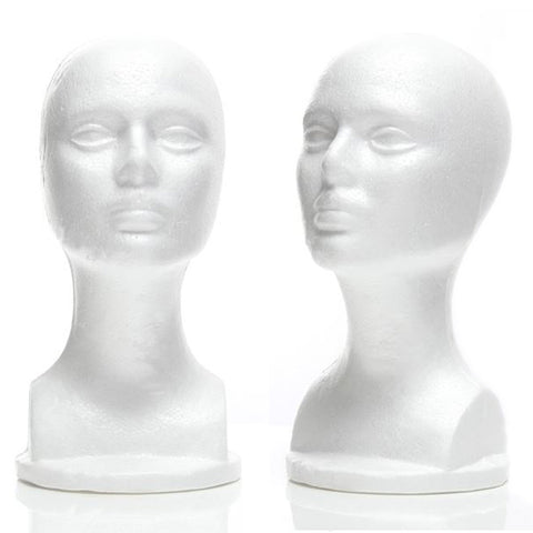 MN-434LTP Female Styrofoam Mannequin Head Bust (LESS THAN PERFECT, FINAL SALE) - DisplayImporter