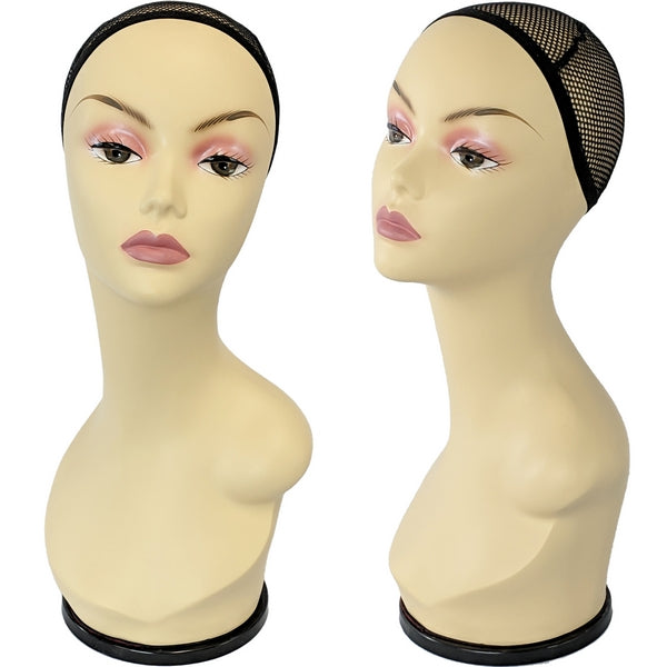 MN-436A Female Mannequin Head Form with Wig Net and Removable Turn Table Base